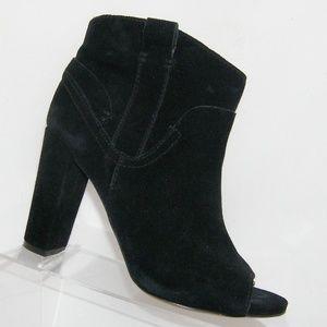 Vince Camuto Camey black suede peep toe booties 9M
